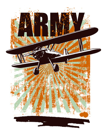 army grunge scene with plane and grunge background