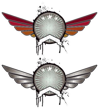 retro grunge shields