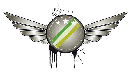 round retro grunge shield with wings