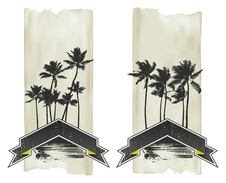 vintage vertical posters with palms and banners
