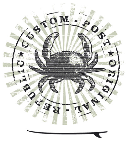 grunge surf stamp with crab and table