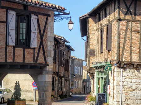 Characteristic beamed houses in Cordes sur ciel in southwestern France.