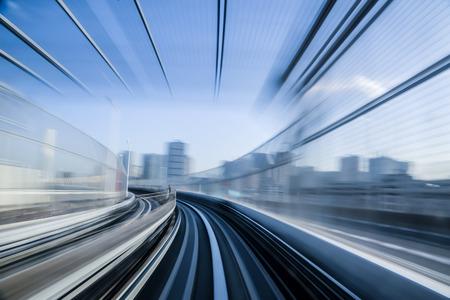Foto de Motion blue of a Japanese mono rail - Imagen libre de derechos