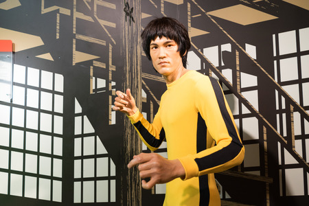 BANGKOK, THAILAND - CIRCA August, 2015: Wax figure of the famous Bruce Li from Madame Tussauds, Siam Discovery, Bangkok