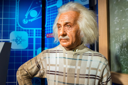 BANGKOK, THAILAND - CIRCA August, 2015: Wax figure of the famous scientist, Albert Einstein from Madame Tussauds, Siam Discovery, Bangkok