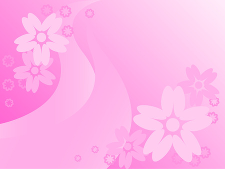 Dissymetrically placed flowers on a pink abstract background