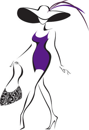 Illustration for slim silhouette running woman in a hat and a bag - Royalty Free Image