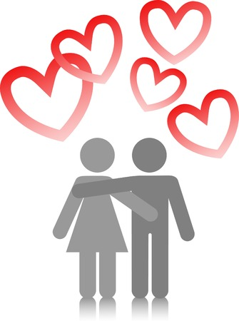 two lovers are embracing on a white background with red hearts