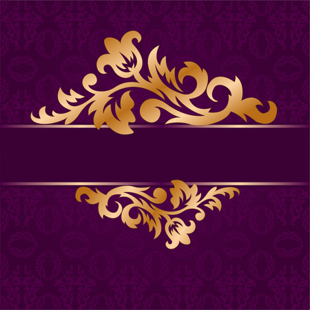 The golden bough of floral ornament on a purple background