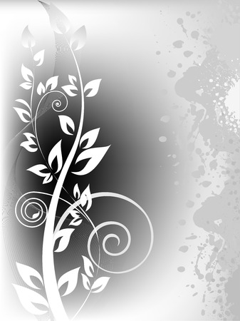 Illustration pour white branch with curls on stained gray background - image libre de droit