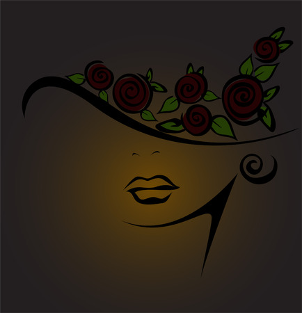 feminine silhouette in a hat with black roses on a dark background