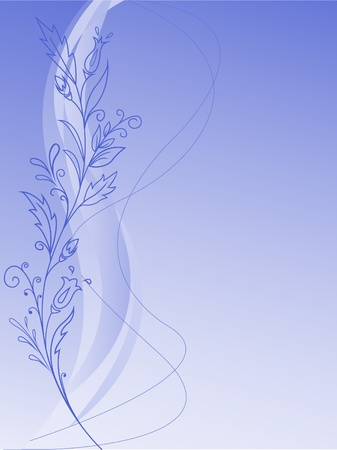 floral design of flowers and leaves on a blue gradient background