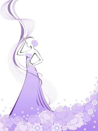 woman in a long purple flower dress