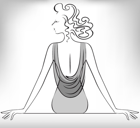 Silhouette of the sitting  slender woman in a decollete