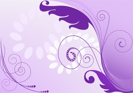 purple abstract background with floral elements