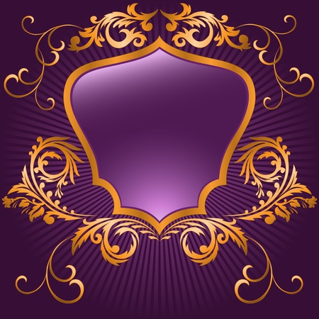 shaped shield in a gilded frame  on purple background