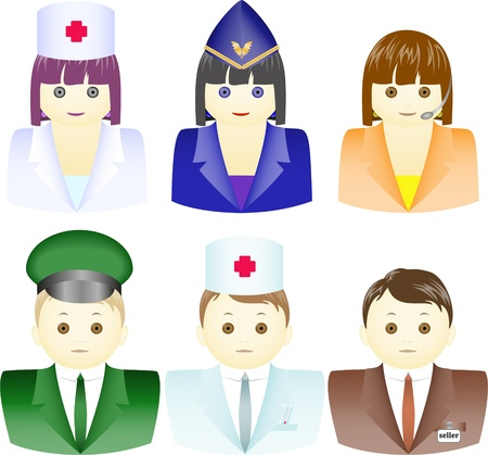 a set of icons for men and women in different uniforms
