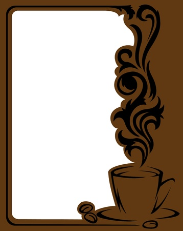 Vertical frame with a stylized  a cup of coffee and coffee beans