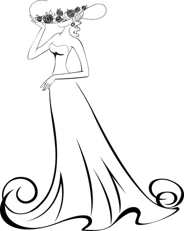 sketch of a slender woman in a long dress and hat