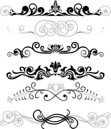 illustration: set of swirling  decorative floral elements