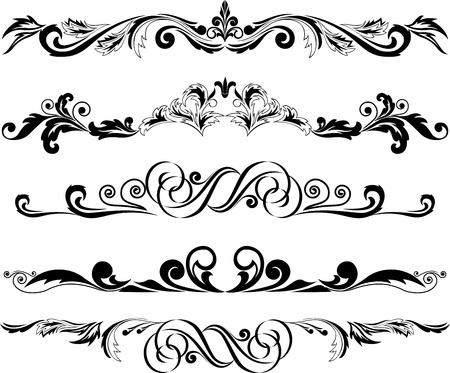 illustration:  set of decorative horizontal elements for design