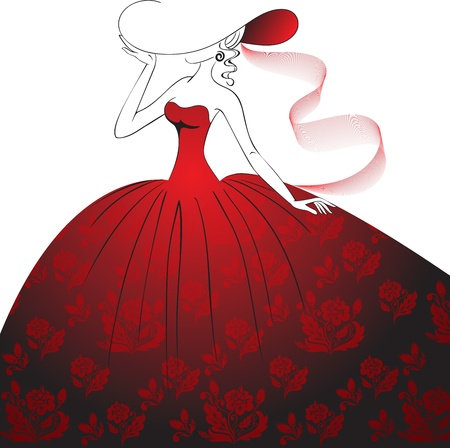 Lady in a hat  and a long dress with floral pattern