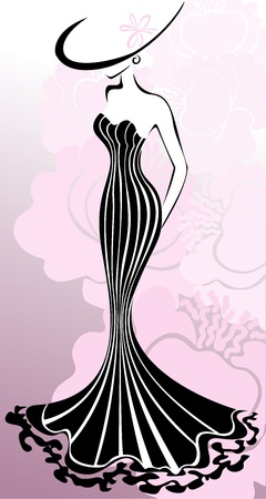 slender woman in a long dress against a background of pink flowers