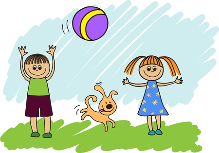 happy children with a dog playing ball