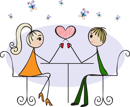 Illustration for Couple in love sitting at a table in a cafe and drink hot coffee - Royalty Free Image