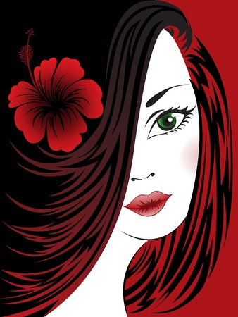 portrait of a beautiful woman with a hibiscus on a black and red