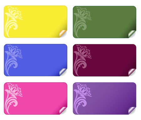 collection of beautiful multi-colored stickers with an ornament