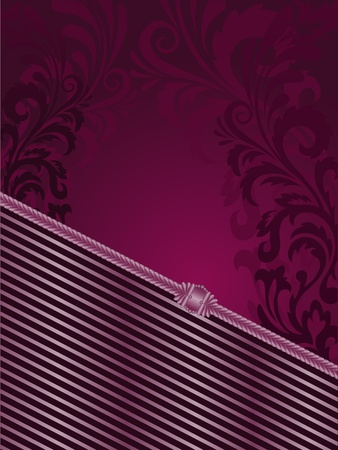vertical purple background with stripes and filigree ornaments