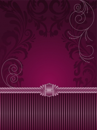 vertical purple background with stripes and ornaments