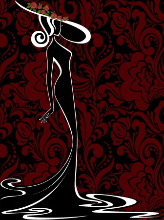 silhouette of a slender woman in a long dress and hat on a black-red background