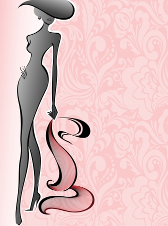 silhouette of a slender woman in a hat on a background of pink flowers