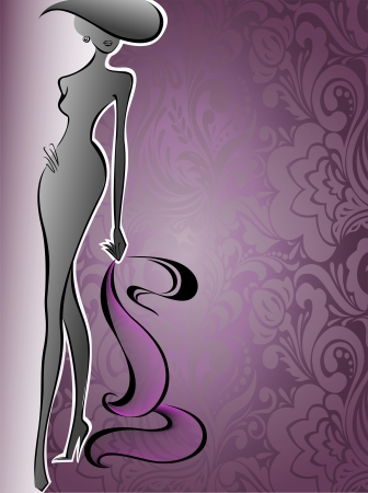 silhouette of a slender woman in a hat on a background of purple flowers