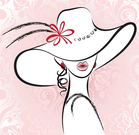 portrait of the beautiful woman in a hat with a flower
