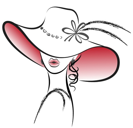 portrait of the beautiful woman in red hat with a flower