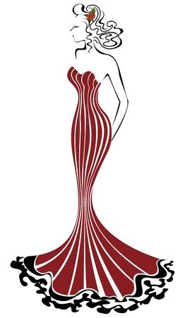 beautiful elegant woman in a long red dress