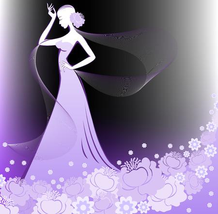 woman in a long purple flower dress on black background