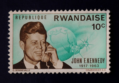 Green John F  Kennedy Republique Rwandaise stamp at 10 cents