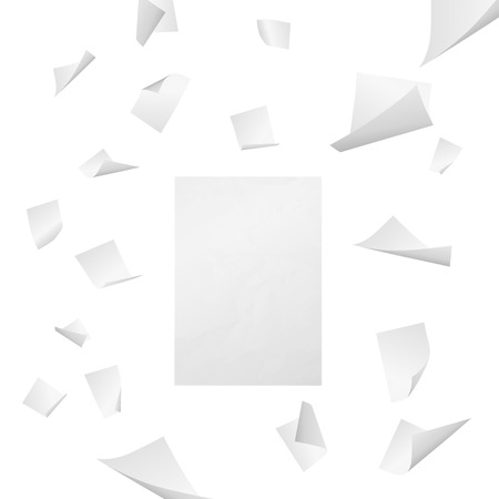 Illustration pour Flying white blank sheets of paper - image libre de droit