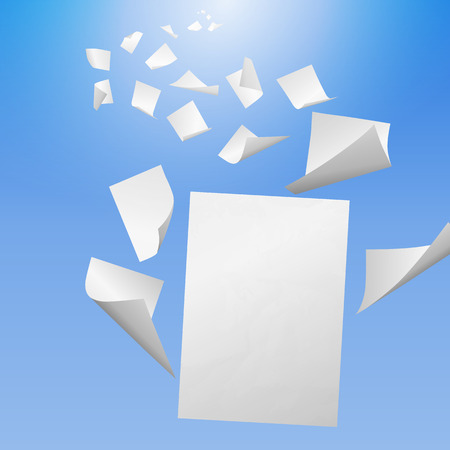 White blank sheets of paper with bent corners flying away into the blue sky