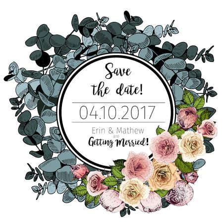 Vector Wedding Invitation Template Save The Date Card Vintage Hand