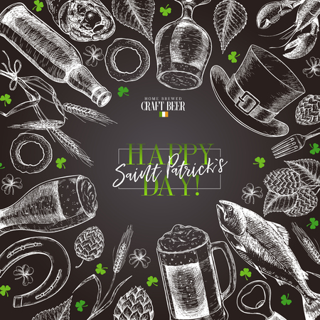 Illustration for Hand drawn Saint Patrick day pub poster. Beer and snacks. Vector glass, bottle, clover, horseshoe, barley, hop, food, hat. Bar alcohol beverages. Irish craft brewery Discount banner flyer poster, menu - Royalty Free Image