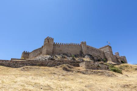 View of the Castle of Santa Olalla del Cala in the province of Huelva, Spain