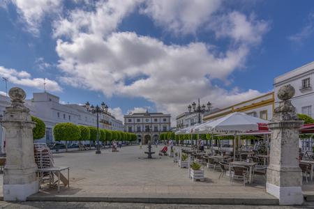 Medina Sidonia, Cadiz, Spain, July, 2017: City Hall and Plaza de Espa? ? a in Medina Sidonia, Spain.