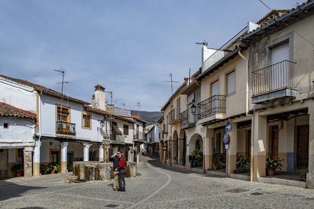 Guadalupe, Caceres, Spain; February 2015: square with typical houses of the village of Guadalupe in the province of Caceres