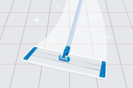 Illustration pour Mop cleaning dirty tiled floor to shiny - image libre de droit