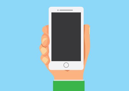 Smart phone in hand mock up flat cartoon version
